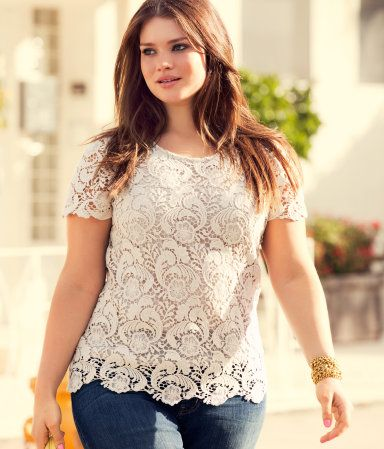 plus size lace top from H: Lace Tee, Lace Tops, Style, Fashion Chic, Plus Size Fashion, Big Girls Fashion, White Lace, Lace Shirts, Curves