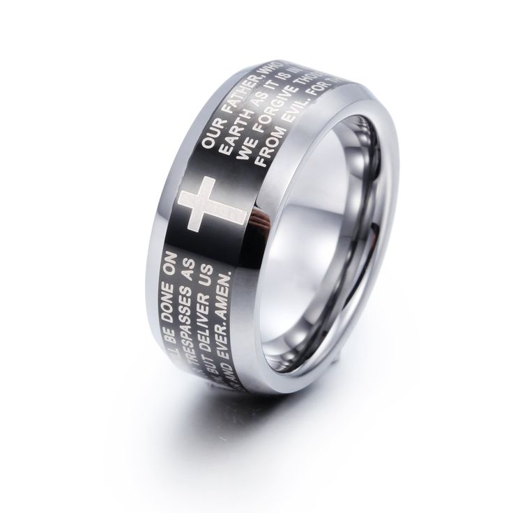 Men's Tungsten Ring Band Black Silver Comfort Fit Cross English Bible Lords Prayer Vintage Polished. Material:Tungsten. Width:8MM Weight:13G. Stylish & Great for Everyday Wear. Never Fade / Scratchproof and Anti - Allergy. Package in the bag.