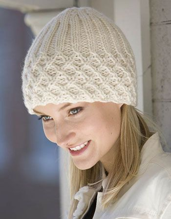 could do a tuck stitch for brim then knit top by hand in round. knitting project - cute textured hat