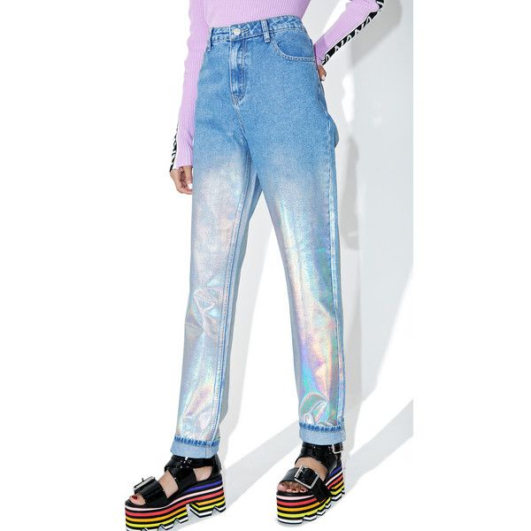 Glamorous Starcrush Holographic Jeans ($58) ❤ liked on Polyvore featuring jeans, straight-leg jeans, white slim fit jeans, light wash jeans, white high-waisted jeans and high waisted jeans