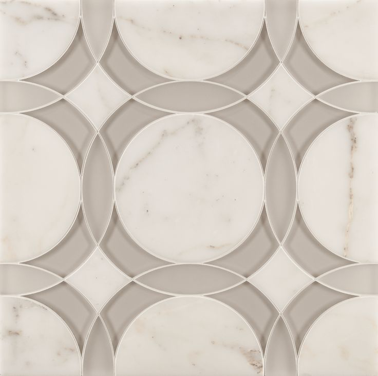 ANN SACKS Liberty rockefeller circle medium mosaic in moonstone white frost glass, moonstone white clear glass and calacatta oro stone