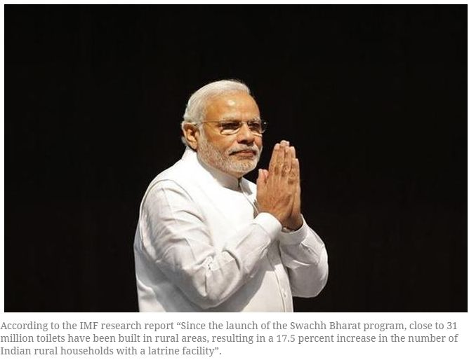 """IMF praises PM's Swachh Bharat Program, says Modi's initiative key to raise gender equality in India """"The Country report by The International Monetary Fund which was released last month clearly indicates that PM Modi is the only politician who has really cared about women's rights and issues like sanitation. Get Narendra Modi's & BJP's latest news and updates with - http://nm4.in/dnldapp http://www.narendramodi.in/downloadapp. Download Now."""""""