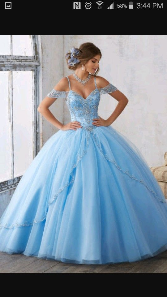 Sparkly Prom Gown Ball Gown Princess Light Blue Prom Dresses