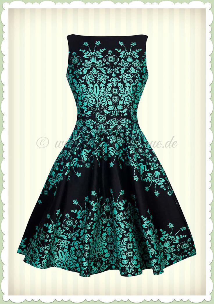 Lady Vintage 40er Jahre Vintage Floral Border Kleid - Tea Dress - Schwarz