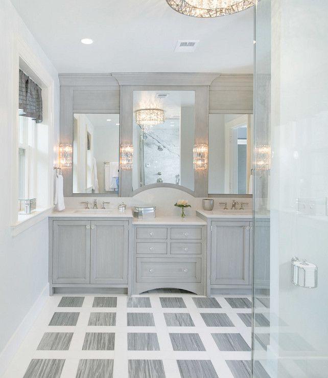 beautiful grey master bathroom