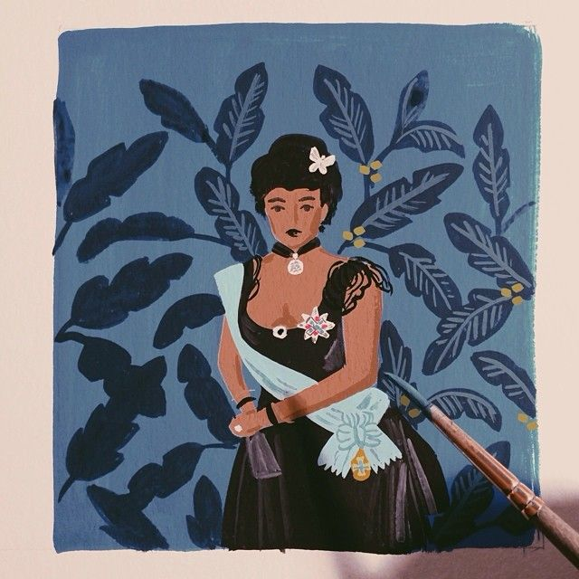 """painting Lili'uokalani (the last queen of Hawaii) for our 2015 monarch calendar"" Anna Rifle Bond"