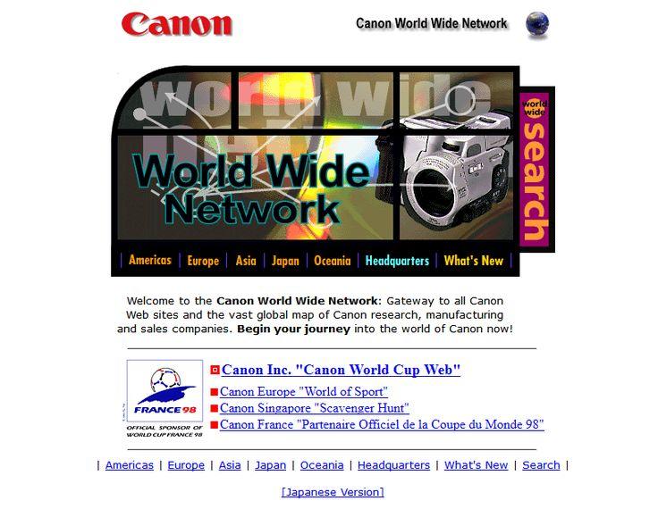 Canon website in 1998