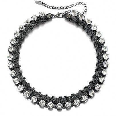 Fiorelli Gunmetal Mesh Crystal Necklace