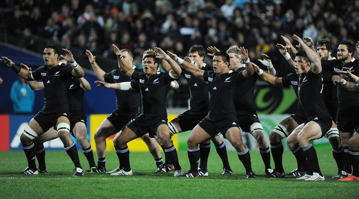 The New Zealand All Blacks perform the haka prior to the start of their Rugby World Cup Pool A match against Japan at Waikato Stadium in Hamilton, New Zealand, on September 16, 2011. New Zealand went on to win with a score of 83-7. (AP Photo/Ross Land) #