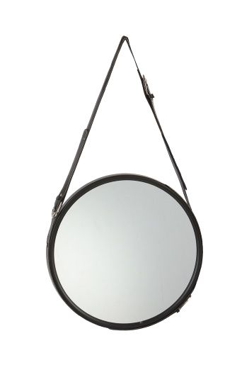 Round mirror with leather strop. Rundt spejl med læder. Budgetvenligt