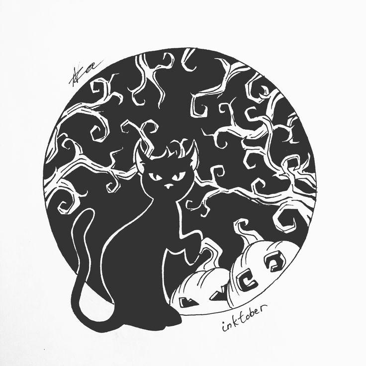 Day-3 #хэллоуин #инктобер #тушь #рисунок #арт #кот #тыквы #графика #иллюстрация #октябрь #артработа #черноеибелое #2016 #halloween #inktober #ink #draw #art #artwork #sketch #sketchbook #cat #pumpkin #graphic #illustration #October #doodle #nza #nzart #nick_arty