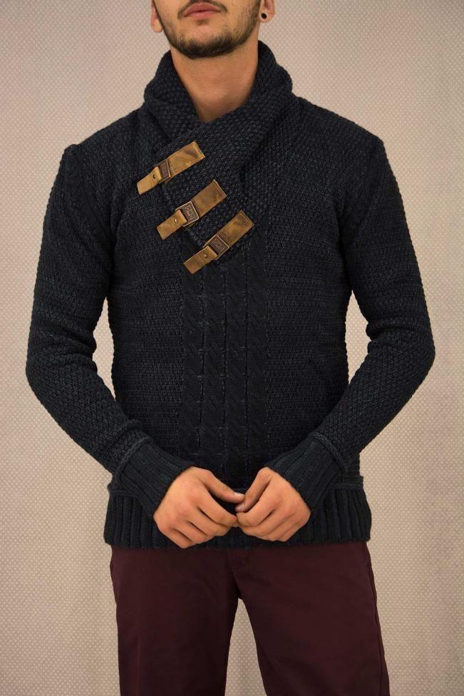Ανδρικό πουλόβερ με αγγράφες  PLEK-2695 Πλεκτά - Πλεκτά και ζακέτες