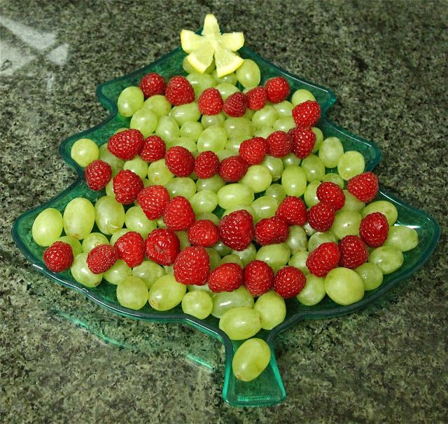 Christmas tree fruit plate