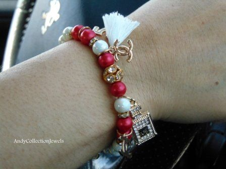 Sparkling Women's Red and White Wristband with Gold tone Charms Replica Rhinestone Parfum Bottle No5, CC, No5 and White Tassel
