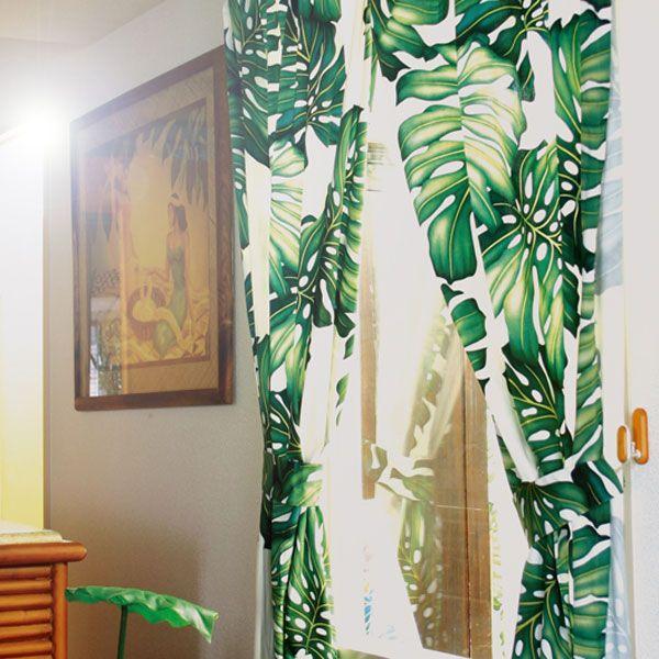 【楽天市場】モンステラ コットンカーテン  W100 × H178:アロハスタイル~ハワイアンShop