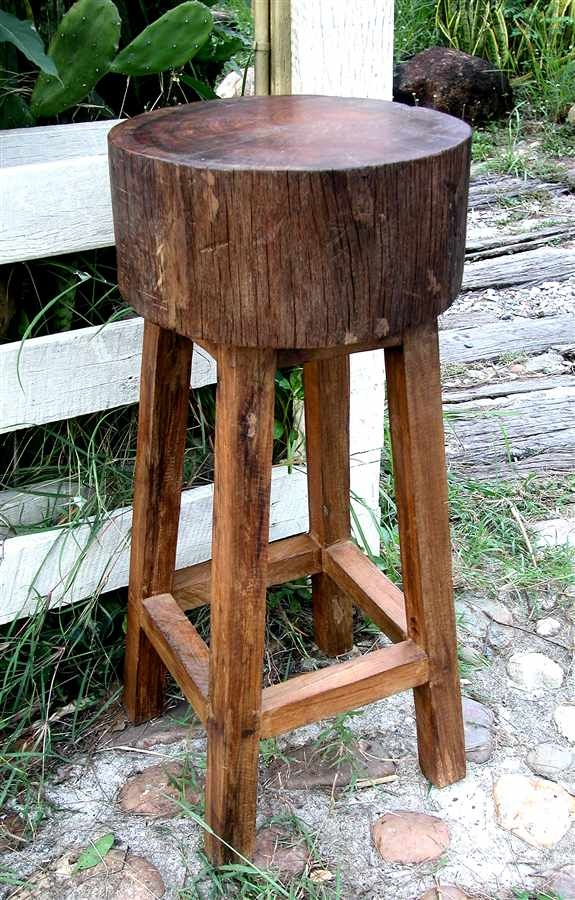 Rustic all weather stump seat bar stool in teak for the for Tree stump table diy