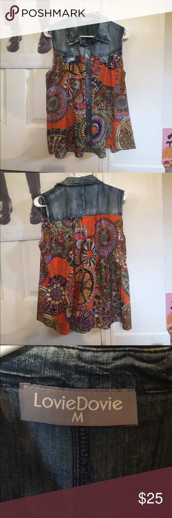 Jean and patterned flowy tank Cute button up flowy tank perfect for hanging in the sun this summer! Worn once! Lovie Dovie Tops Tank Tops