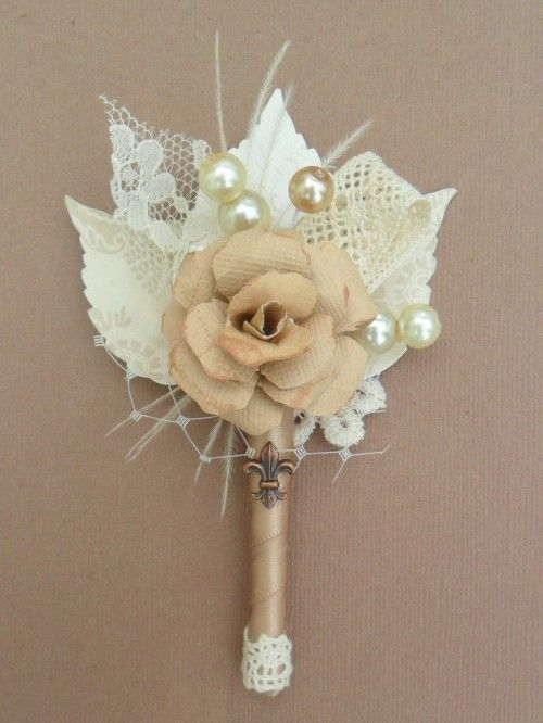 vintage inspired champagne boutonniere... love this one!