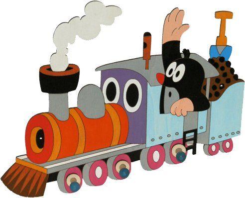Dekorace do pokojíčku | dřevěné věšáčky DoDo | 3 věšáček DoDo Krtek na lokomotivě | BABY-MIMINKO - dětské ložní povlečení, plážové osušky, dětské cestovní kufry ABS, školní batohy