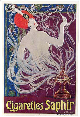 Vintage Poster Art - Cigarettes Saphir - art by Stephano (1900)