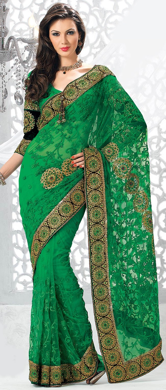 Parrot #Green Net #Saree With Blouse @ $120.88