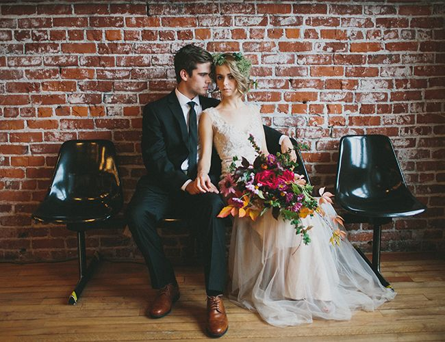 bohemian bride with flower crown and classic grom