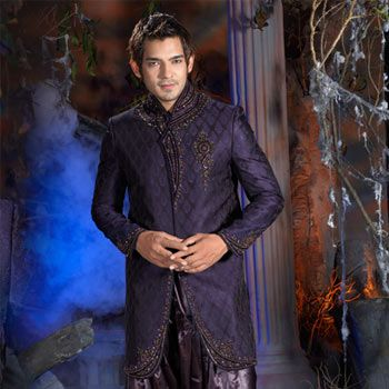 Blue Jacquard Embroidered Sherwani with Patiala