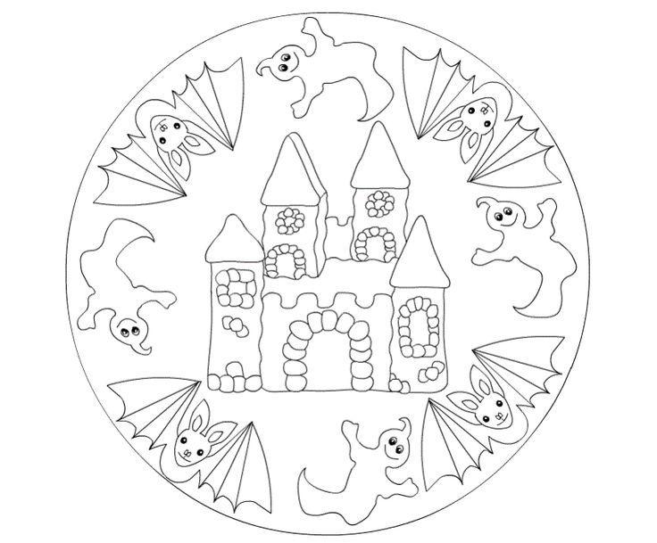 Malvorlage Halloween Mandala für Kinder free  ...