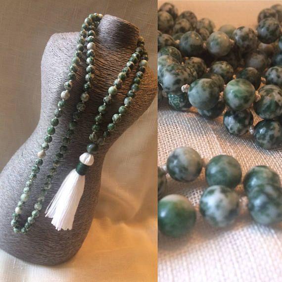 108 Mala Beads. Tree Agate Mala Necklace. Japa Mala.