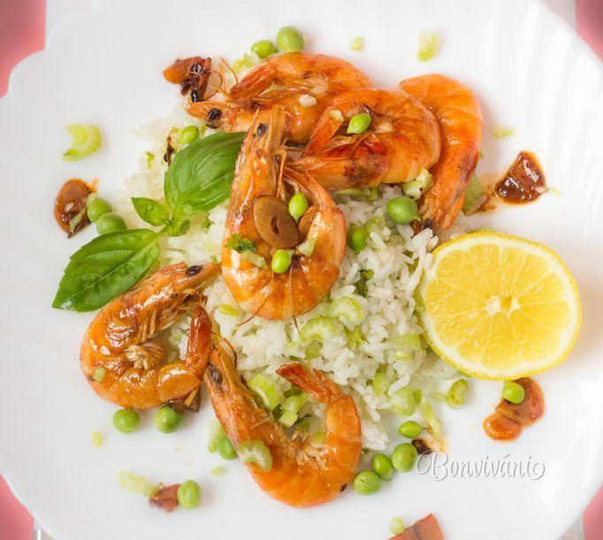 Krevety so zelenou ryžou • recept • bonvivani.sk