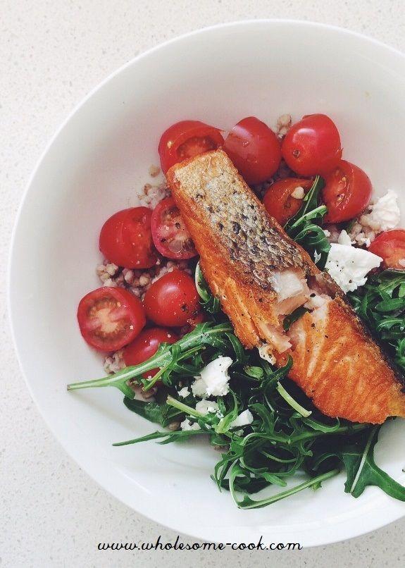 Crispy Skin Salmon with Buckwheat Salad - http://wholesome-cook.com/2016/05/06/crispy-skin-salmon-with-buckwheat-salad/