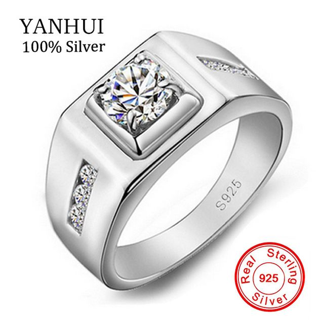 Fair price YANHUI Men Ring original Silver Jewelry Rings For Men set 1ct CZ Diamant Wedding Engagement Ring 925 Sterling Men Gift YJ29N just only $8.15 with free shipping worldwide  #weddingengagementjewelry Plese click on picture to see our special price for you