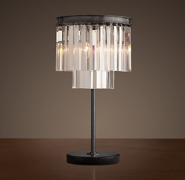 1920s odeon glass fringe table lamp