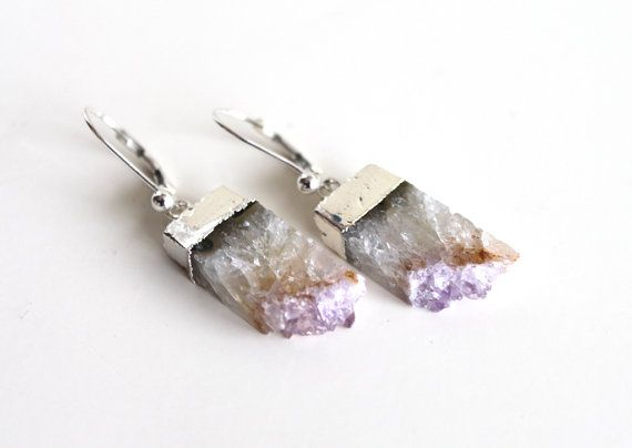Druzy Amethyst Earrings. Sliced Druzy Earrings. 925 by GSGjewelry, $63.50