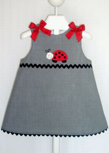 Black gingham A-Line Jumper with ladybug applique by SouthernSassyPants, via Flickr