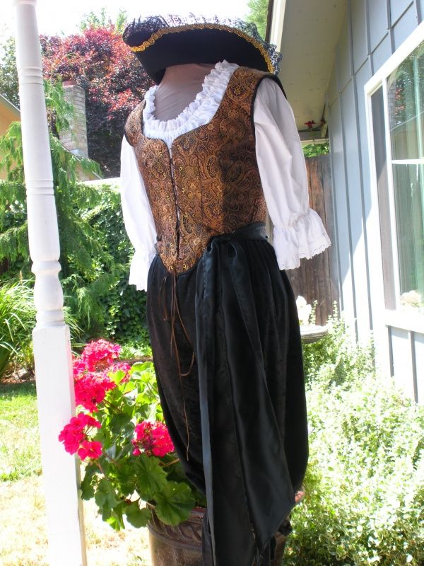 Lady Pirate Costume - Black And Gold | Handmade Pirate Garb | Pieces of Eight Costumes