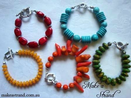 Colourful bracelets - red coral, blue howlite, yellow beads, orange coral and green beads In stock: Prices range from AU$50-$75 + postage