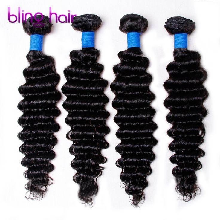 Bling hair Brazilian Deep wave 4 Bundles Nature Black Remy Human Hair For Salon Hair Extention Low Ratio Longest Hair PCT 15%