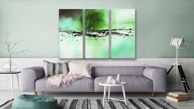 "This exclusive triptych is called ""Splashes of Colour Green"" and you can find it in #thecanvasartfactory"