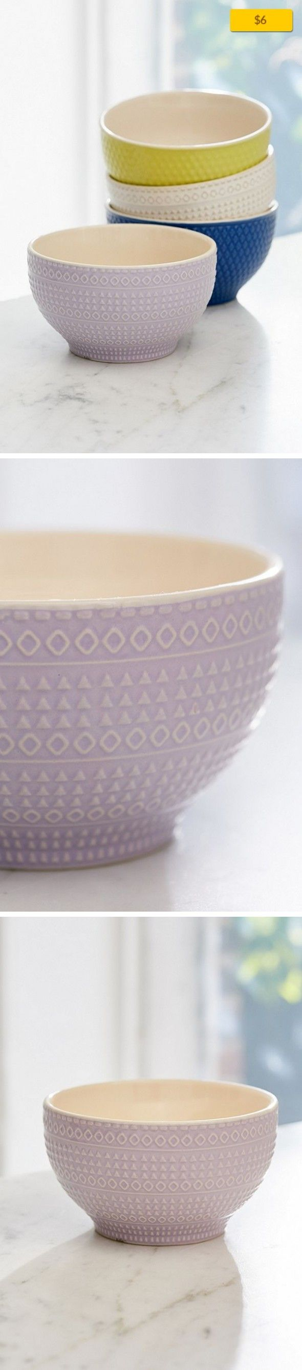 Embossed Ceramic Bowl Sale, Apartment Sale, Kitchen + Bar   Ceramic bowls embossed with assorted geo patterns; get 1 or a few for a charmingly mismatched set! Perfectly sized for cereal, salad, pasta + more. Microwave safe + food safe; not suitable for the oven or dishwasher. Content + Care - Ceramic - Hand wash - Imported Size - Diameter: 5""