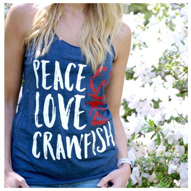Peace. Love. Crawfish. Instant sellout! #fashion #shopbb #springfashion #newarrivals #spring #peace #love #crawfish #crawfishboil #bombshell #boutique #bombshellboutique