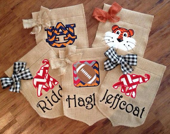 Awesome Auburn Burlap Personalized Garden Flag By StitchedsoSweet On Etsy