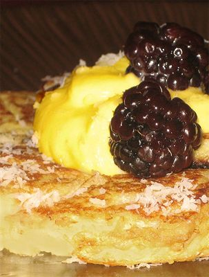 Gluten Free Flourless Coconut Pancakes  with lemon curd and berries