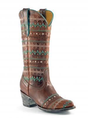 Cowboy Boots in turquoise and brown! #cowgirl