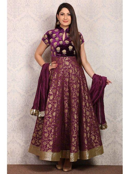 Shop Purple Anarkali Poly Mettalic Suit Set by Rohit Bal online at Biba.in - CKD4942PUR