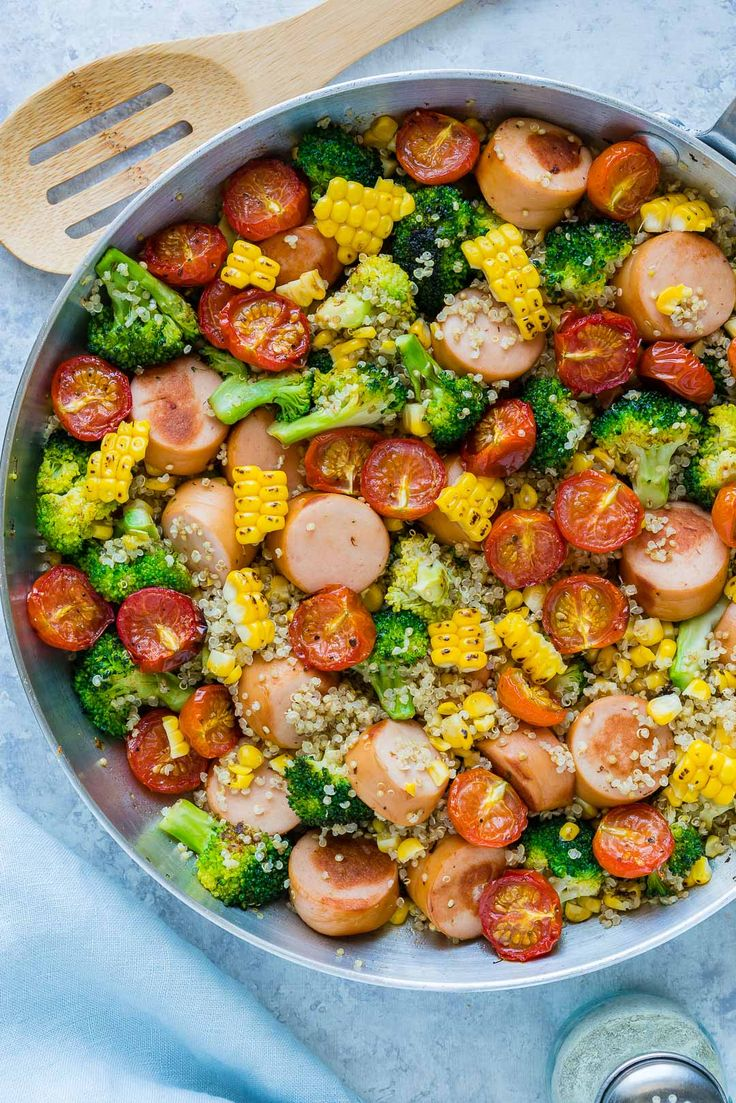 20 Minute Broccoli + Sausage + Quinoa Skillet: Clean Eating Win! - Clean Food Crush