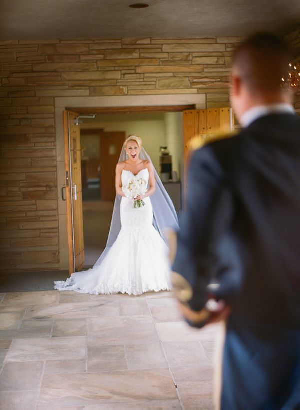 First look. Maggie Bride Stefanie wore Marianne by Maggie Sottero at her Tennessee Military Wedding   Bamber Photography