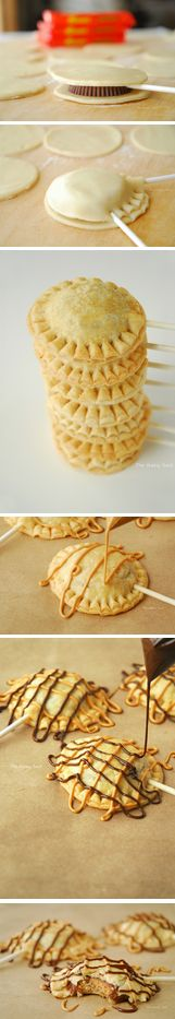 peanut butter cup pie pops #mini #pies #reeses http://thecakebar.tumblr.com/post/63816308117/peanut-butter-cup-pie-pops-tutorial
