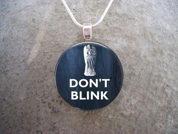 Doctor Who Jewelry DON'T BLINK Glass Pendant by SolasJewelry