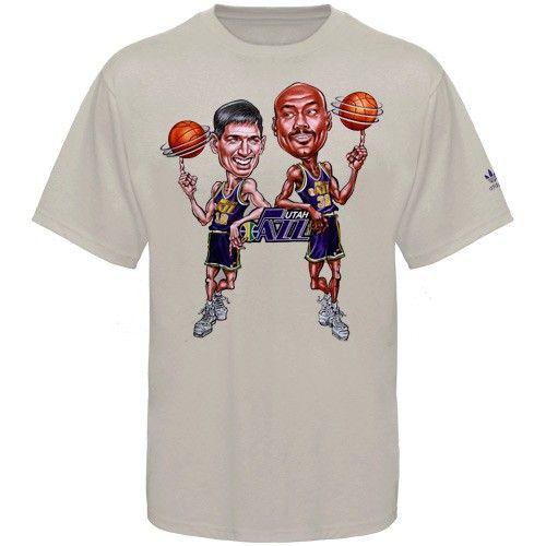 12 John Stockton 32 Karl Malone Gray Caricature T Shirt